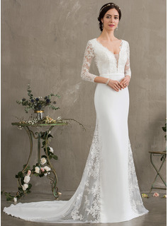 Trumpet/Mermaid V-neck Chapel Train Chiffon Wedding Dress With Beading Sequins (002187043)