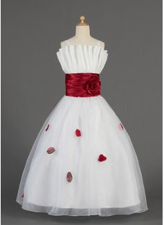 A-Line/Princess Floor-length Flower Girl Dress - Organza/Charmeuse Sleeveless Scalloped Neck With Ruffles/Sash/Flower(s)/Bow(s) (010014631)