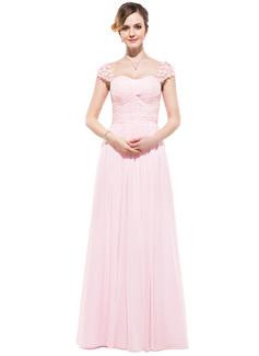 A-Linie/Princess-Linie Herzausschnitt Bodenlang Chiffon Abendkleid mit Rüschen Perlen verziert Blumen (017045215)