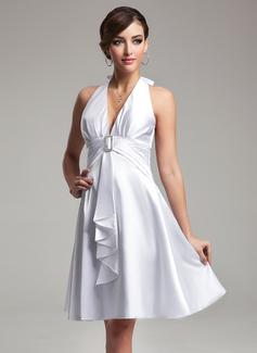 Empire Halter Knee-Length Charmeuse Bridesmaid Dress With Crystal Brooch Bow(s) Cascading Ruffles (007021071)