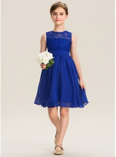 A-Line Scoop Neck Knee-Length Chiffon Lace Junior Bridesmaid Dress (009173311)