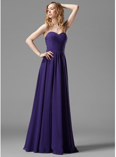 A-Line/Princess Sweetheart Floor-Length Chiffon Bridesmaid Dress With Ruffle (007004143)