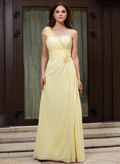 A-Linie/Princess-Linie One-Shoulder-Träger Bodenlang Chiffon Abendkleid mit Rüschen Perlen verziert Blumen (017026086)