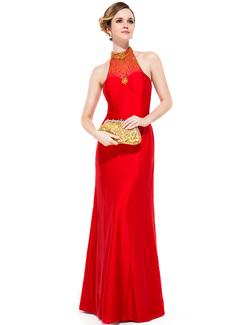 Etui-Linie U-Ausschnitt Bodenlang Jersey Abendkleid mit Perlen verziert Pailletten (017051155)