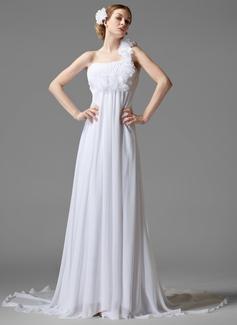 Forme Empire Encolure asymétrique Traîne chappelle Mousseline Robe de mariée avec Plissé Fleur(s) (002000441)