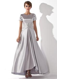 A-Linie/Princess-Linie U-Ausschnitt Asymmetrisch Charmeuse Kleid für die Brautmutter mit Rüschen Perlen verziert (008013774)