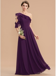 A-Line One-Shoulder Floor-Length Chiffon Bridesmaid Dress With Cascading Ruffles (007165852)