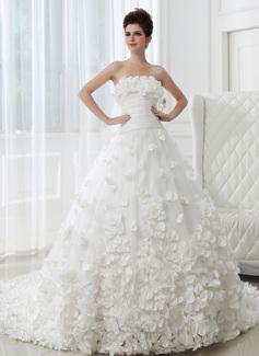 Corte de baile Estrapless Tren de la catedral Tafetán Tul Vestido de novia con Volantes Flores (002026594)