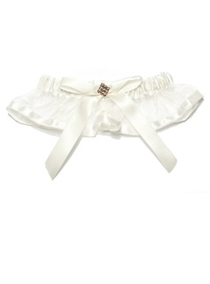 Lovely Satin Organza With Rhinestone Wedding Garters (104019492)