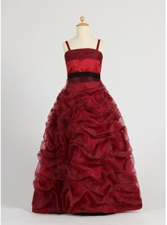 Ball Gown Floor-length Flower Girl Dress - Organza/Satin Sleeveless With Ruffles/Sash/Bow(s)/Pick Up Skirt (010005794)
