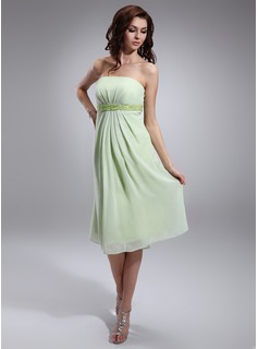 Empire Strapless Knee-Length Chiffon Charmeuse Maternity Bridesmaid Dress With Ruffle Beading (045022463)