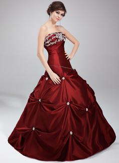 Duchesse-Linie Trägerlos Bodenlang Taft Quinceañera Kleid (Kleid für die Geburtstagsfeier) mit Perlstickerei Applikationen Spitze Pailletten (021020630)
