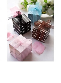 Cubic Card Paper Favor Boxes With Ribbons (Set of 12) (050016119)