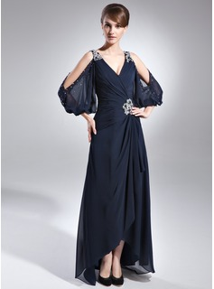 A-Line/Princess V-neck Asymmetrical Chiffon Mother of the Bride Dress With Beading Cascading Ruffles (008005761)