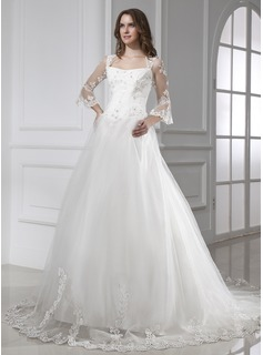 Ball-Gown Square Neckline Chapel Train Satin Tulle Wedding Dress With Lace (002015458)