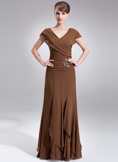 A-Linie/Princess-Linie V-Ausschnitt Bodenlang Chiffon Kleid für die Brautmutter mit Perlen verziert Gestufte Rüschen (008006059)