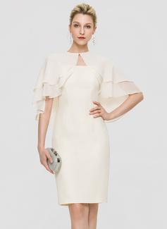 Sheath/Column Square Neckline Knee-Length Chiffon Cocktail Dress (016197105)