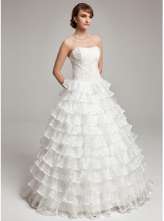 Ball-Gown Sweetheart Floor-Length Organza Charmeuse Wedding Dress With Beading Cascading Ruffles (002017564)