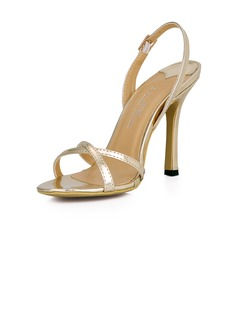 Patent Leather Stiletto Heel Sandals Slingbacks shoes (087026359)