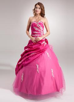 Duchesse-Linie Schatz Bodenlang Taft Tüll Quinceañera Kleid (Kleid für die Geburtstagsfeier) mit Rüschen Perlstickerei Applikationen Spitze Blumen Pailletten (021016401)