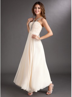 A-Line/Princess V-neck Ankle-Length Chiffon Holiday Dress With Ruffle Beading (020016843)