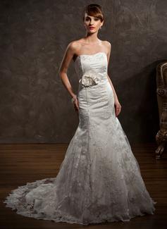 Forme Sirène/Trompette Bustier en coeur Traîne mi-longue Satiné Dentelle Robe de mariée avec Emperler Fleur(s) (002000427)