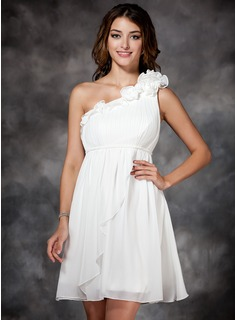 Empire One-Shoulder Short/Mini Chiffon Prom Dress With Ruffle Flower(s) (018135089)