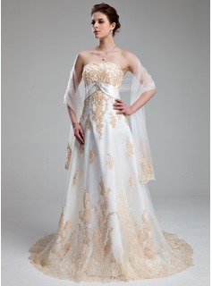 Empire Sweetheart Court Train Satin Tulle Wedding Dress With Lace Crystal Brooch (002011662)
