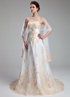Väldet Hjärtformad Court släp Tyll Bröllopsklänning med Applikationer Spetsar Kristallbrosch (002011662)
