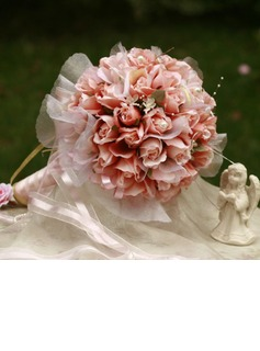 Girly de Rond Satin Bouquets de Mariée (124032064)