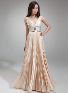 A-Linie/Princess-Linie V-Ausschnitt Bodenlang Charmeuse Abendkleid mit Perlen verziert Gefaltet (017018813)