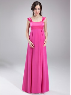 Empire Sweetheart Floor-Length Chiffon Maternity Bridesmaid Dress With Ruffle (045004394)