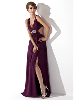 Sheath V-neck Sweep Train Chiffon Evening Dress With Ruffle Beading (017004356)