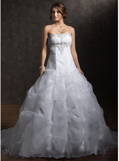 Ball-Gown Sweetheart Chapel Train Organza Satin Wedding Dress With Ruffle Beadwork (002011379)