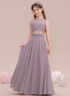 A-Linie/Princess-Linie U-Ausschnitt Bodenlang Chiffon Kleid für junge Brautjungfern (009119582)