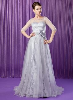 A-Linie/Princess-Linie U-Ausschnitt Sweep/Pinsel zug Tüll Spitze Kleid für die Brautmutter mit Perlstickerei Blumen Pailletten (008018962)