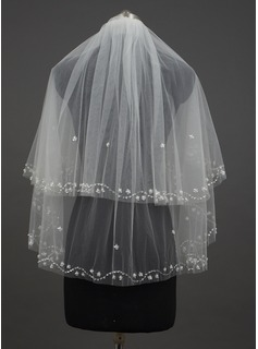 Two-tier Fingertip Bridal Veils With Pearl Trim Edge (006034431)