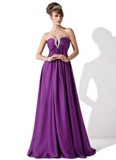 Empire-Linie Herzausschnitt Bodenlang Satin-Chiffon Abendkleid mit Rüschen Perlen verziert (017013795)