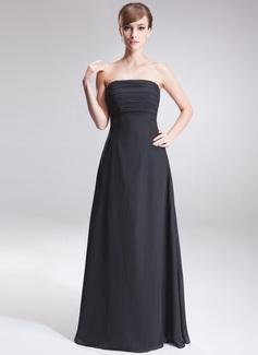 A-linjainen/Prinsessa Olkaimeton Lattiaa hipova pituus Sifonki Morsiusneitojen mekko jossa Rypytys (007001069)