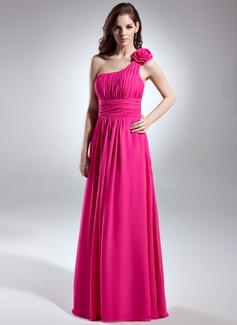 A-Linie/Princess-Linie One-Shoulder-Träger Bodenlang Chiffon Brautjungfernkleid mit Rüschen (007015613)