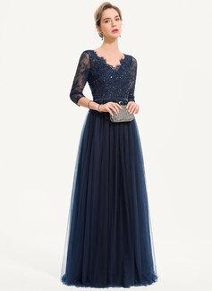 A-Linie V-Ausschnitt Bodenlang Tüll Abendkleid mit Perlstickerei Pailletten (017186126)