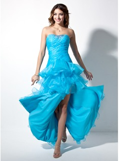 Robe de Bal de Promo Ligne-A/Princesse Cur Longeur au sol Organza Robe de Bal de Promo avec Ondul Brod (018002474)