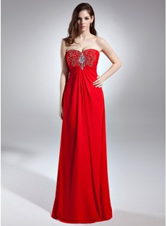 Empire Sweetheart Floor-Length Chiffon Evening Dress With Ruffle Beading (017015593)