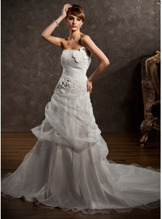 A-Line/Princess Strapless Chapel Train Organza Satin Wedding Dress With Ruffle Appliques Flower(s) (002000647)