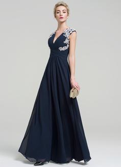 A-Linie/Princess-Linie V-Ausschnitt Bodenlang Chiffon Abendkleid mit Applikationen Spitze (017093494)