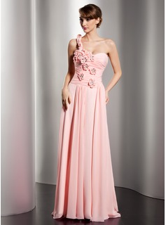 Robe de Bal de Promo Ligne-A/Princesse Une epaule Traine longue Mousseline Robe de Bal de Promo avec Ondul Brod Fleurs (018014537)