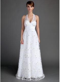A-Line/Princess Halter Floor-Length Lace Wedding Dress With Ruffle Beading (002015721)