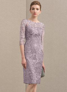 Etui-Linie U-Ausschnitt Knielang Spitze Kleid für die Brautmutter (008152119)