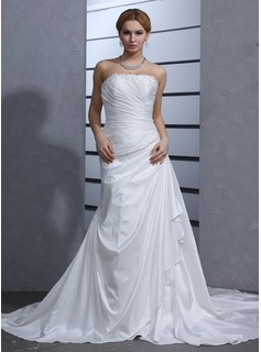A-Line/Princess Strapless Chapel Train Taffeta Wedding Dress With Beading Appliques Lace Cascading Ruffles (002011685)