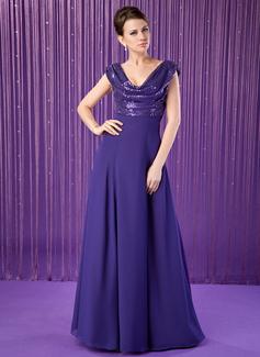 A-Linie/Princess-Linie Cowl Neck Bodenlang Chiffon Pailletten Kleid für die Brautmutter mit Rüschen (008018936)